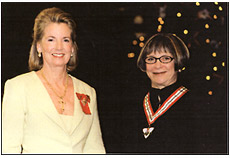 The Honourable Hilary M. Weston Lieutenant Governor of Ontario and Marilyn Brooks pose for a photograph after Brooks receives the Order of Ontario.