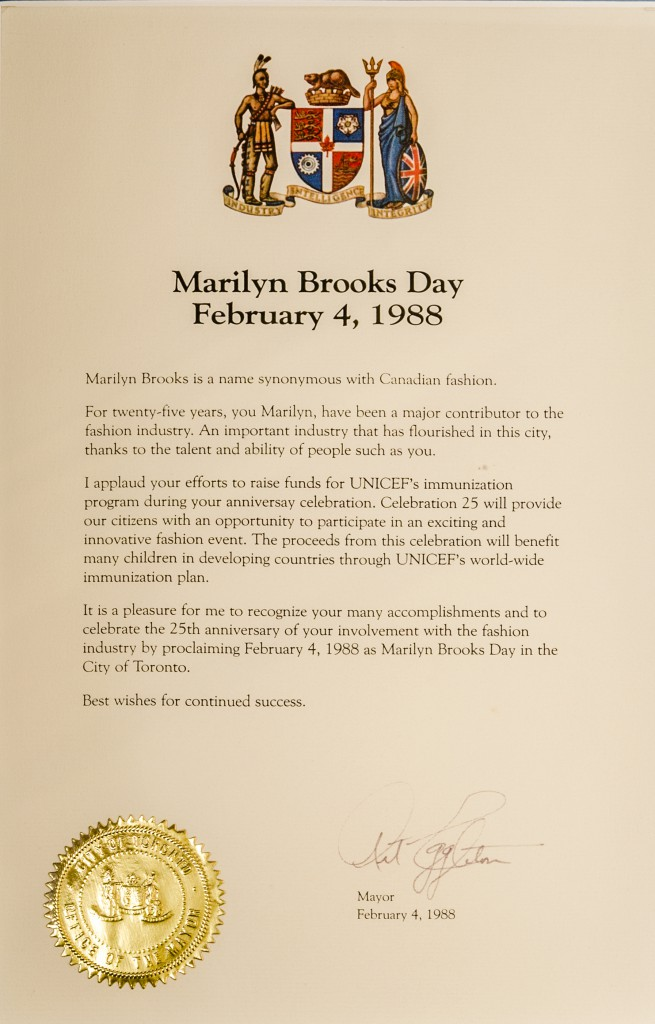 Marilyn Brooks Day proclamation.